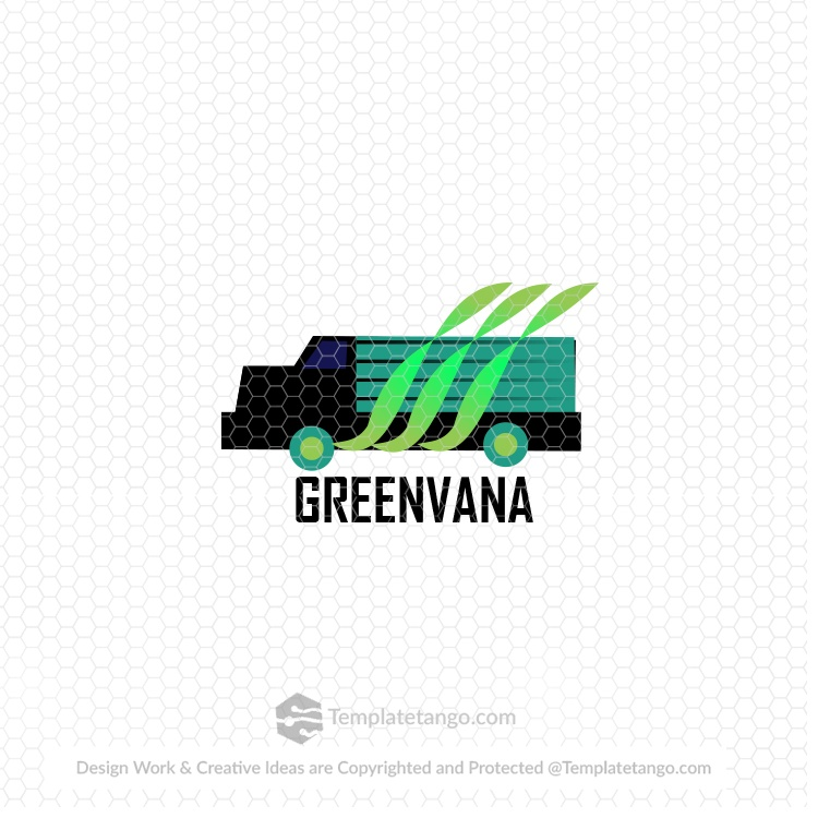 green-van-vehicle-logo-design